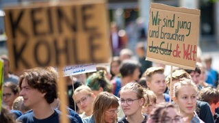 "teilnehmer der Klimademonstration ""Fridays for Future"" mit Transparenten"